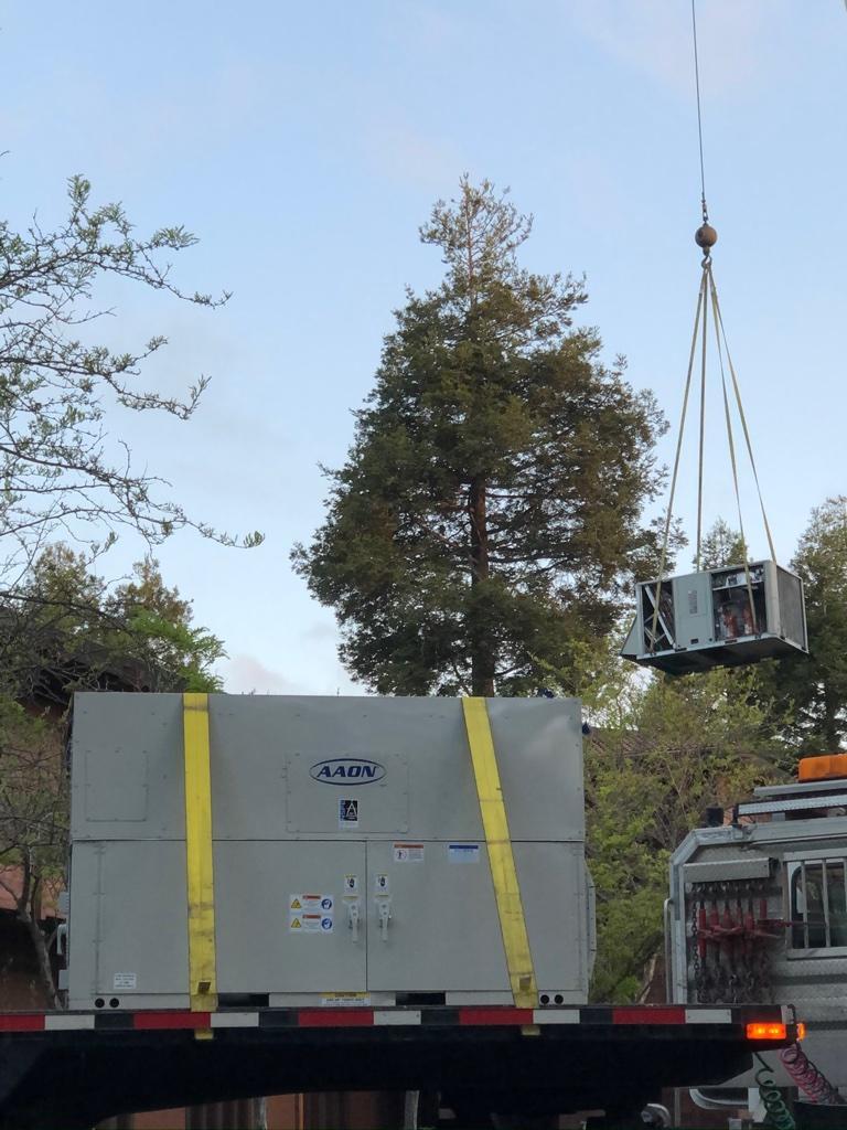 crane lift of AHU